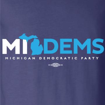 """MI Dems"" Logo Graphic (Navy Long-Sleeve Tee)"
