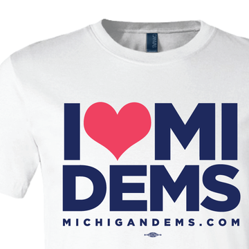 I Heart Michigan Dems (White Tee)