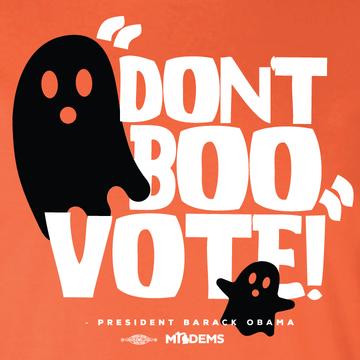 """""""Don't Boo, Vote!"""" graphic on (Orange Tee)"""