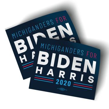 "Michiganders For Biden Harris (5"" x 4"" Vinyl Sticker -- Pack of Two!)"