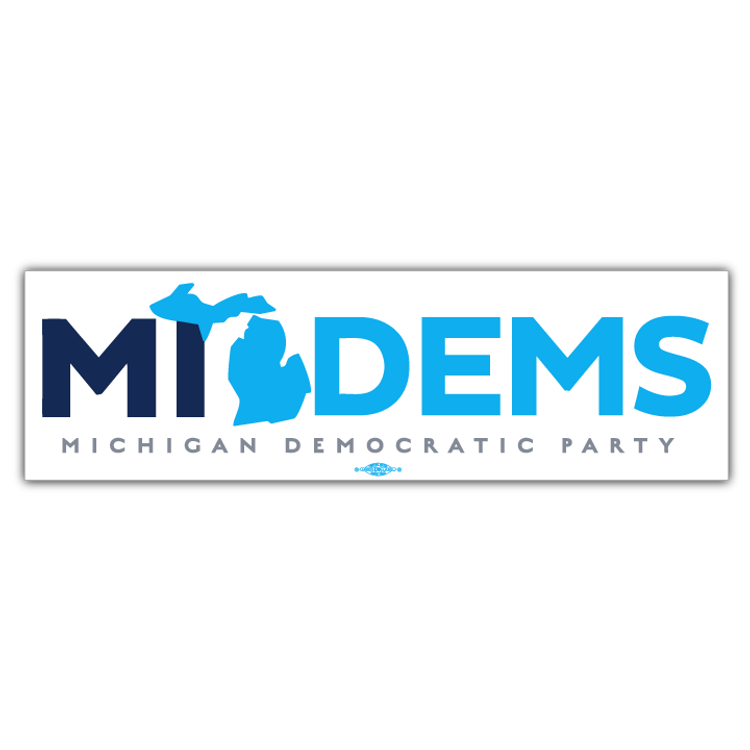 "MI Dems Official Logo (10"" x 3"" Vinyl Sticker)"