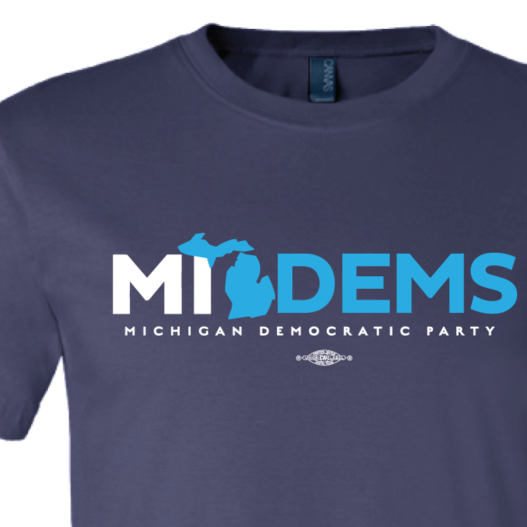 """MI Dems"" Logo Graphic (Navy Tee)"