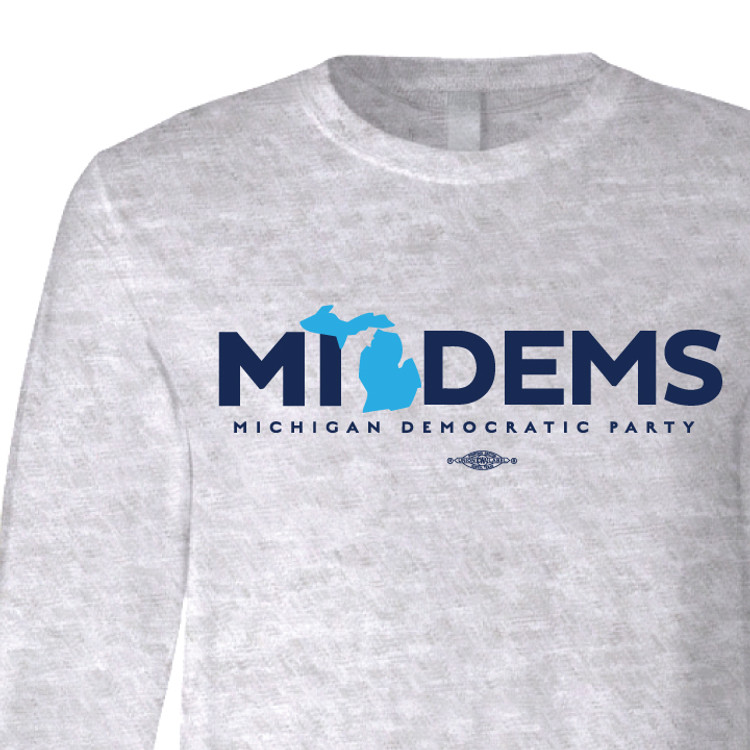 """MI Dems"" Logo Graphic (Dark Ash Long-Sleeve Tee)"