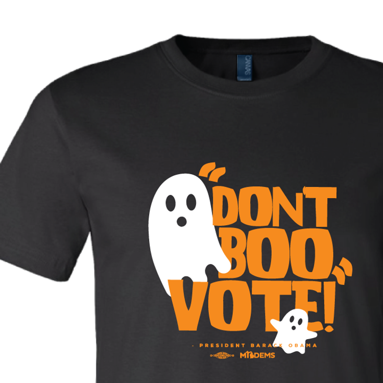 """Don't Boo, Vote!"" graphic on (Black Tee)"
