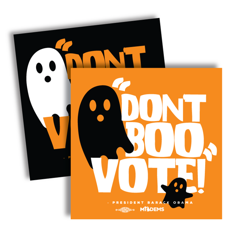 """""""Don't Boo, Vote!"""" graphic on (4"""" x4"""" Vinyl Sticker -- Pack of Two!)"""