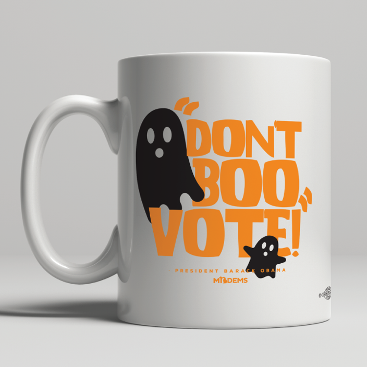 """Don't Boo, Vote!"" graphic on (11oz. Coffee Mug)"
