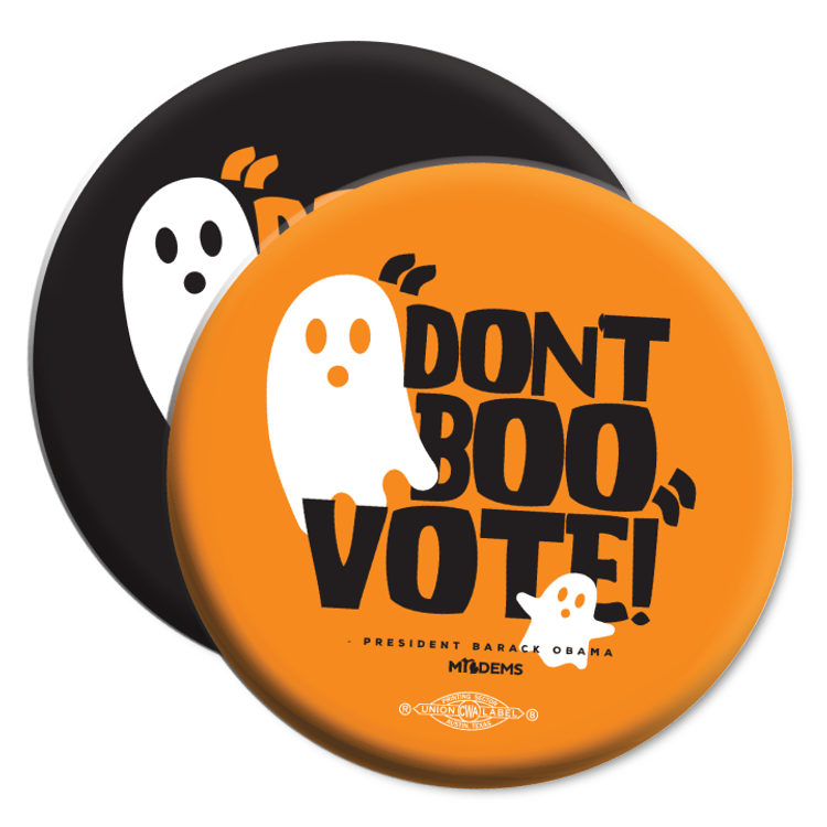 """""""Don't Boo, Vote!"""" graphic on (2.25"""" Mylar Button -- Pack Of Two!)"""