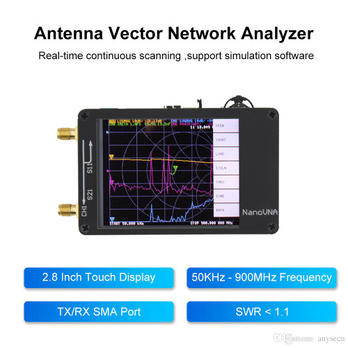 NanoVNA 10KHz-900MHz Vector Network Analyzer Kit MF HF VHF UHF Antenna