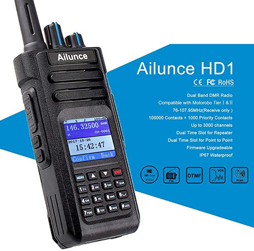 Ailunce HD1 DMR Radios,Amateur Radios,Digital Walkie Talkies Waterproof IP67 GPS UHF VHF 3000 Channels 200000 Contacts 3200mAh FM