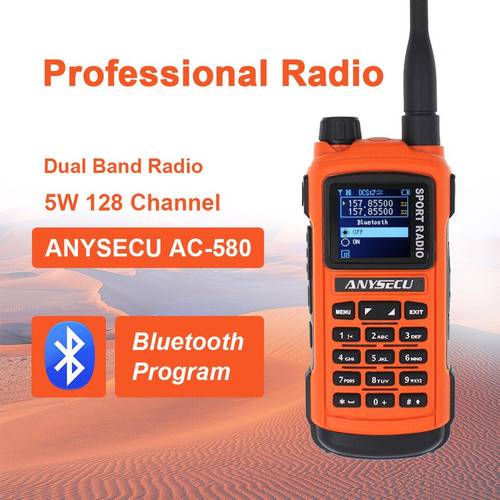 Anysecu AC-580 (SenHaix 8800, Radioddity GS-5B) Bluetooth Programming Handheld Ham Radio Dual Band with Dual PTT, USB Charging, S-Meter, Rainproof Two Way Radio
