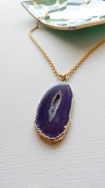Purple Agate Druzy Pendant Necklace