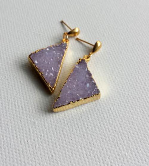 Gold & Druzy Triangle Earrings