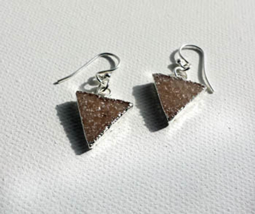 Silver & Druzy Triangle Earrings