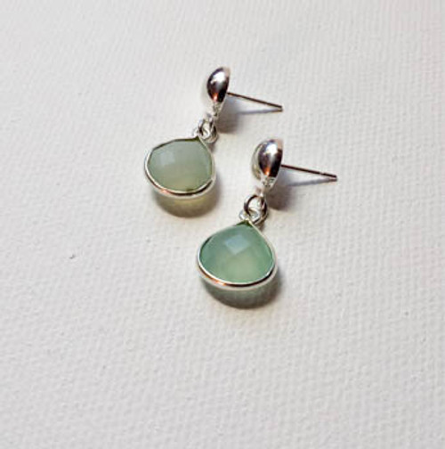 Aqua Chalcedony Post Earrings