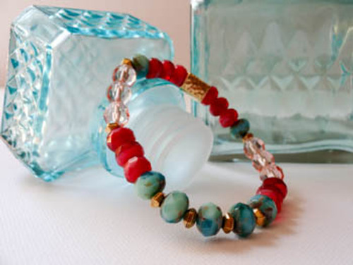 Cranberry and Turquois Bracelet