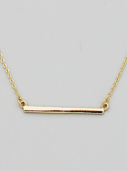 Classic Bar Shape Pendant Delicate Necklace (Gold)