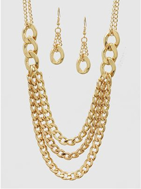 Metal Chain Linked Necklaces Set