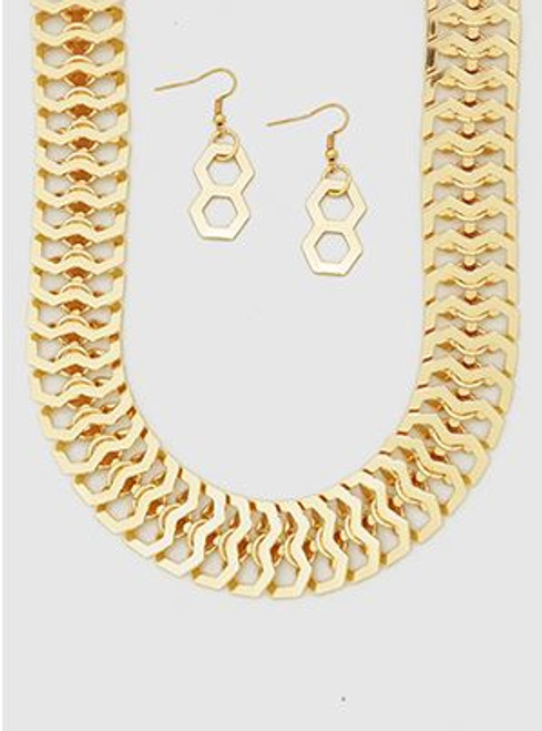 Honeycomb Metal Chain Linked Necklaces Set