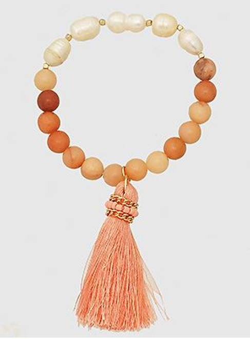 Semi Precious Thread Tassels Freshwater Stretch Bracelets