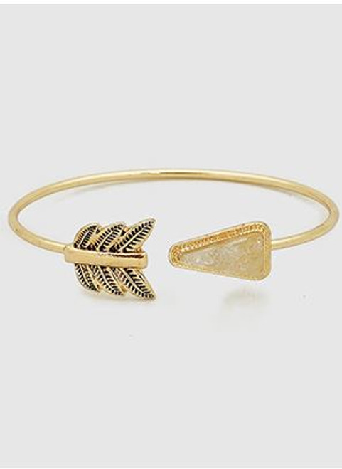 Simulated Druzy Aztec Arrow Open Cuff Bracelet