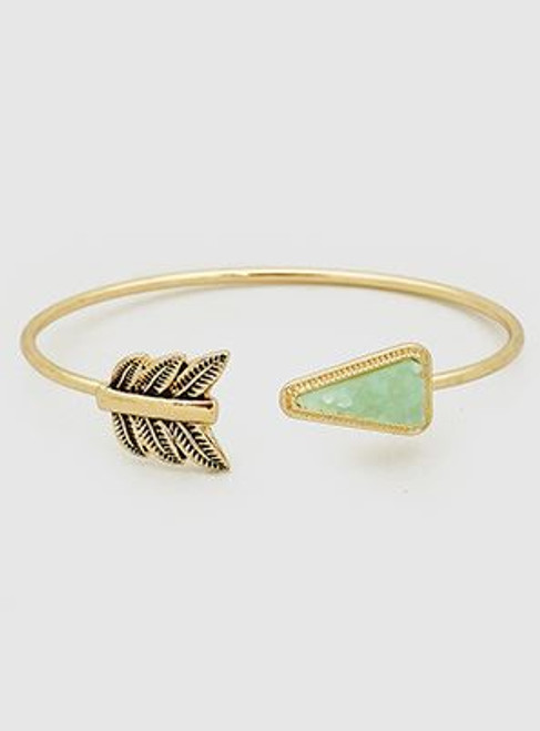 Simulated Druzy Aztec Arrow Open Cuff Bracelet (Mint)