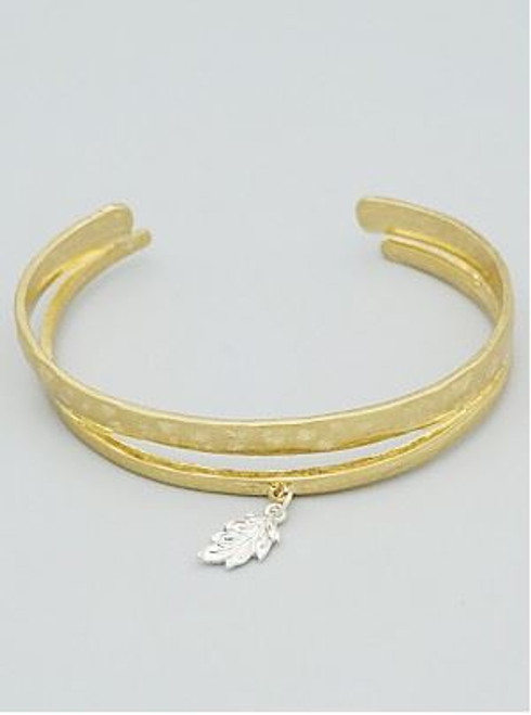 Feather Leaf Accents Hammered Metal Open Cuff Bangle Bracelet