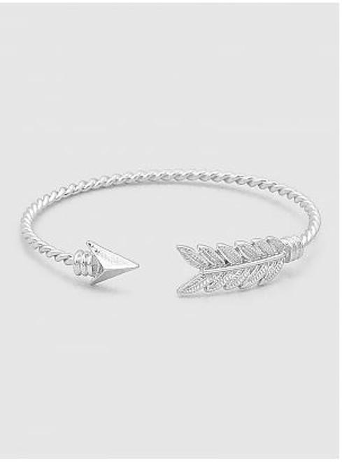 Silver Twisted Arrow Bangle