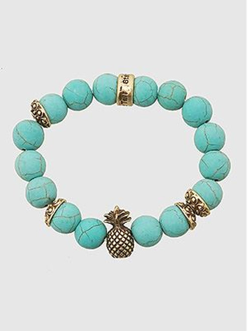 (Turquoise) Natural Stones Pineapple Stretch Bracelet