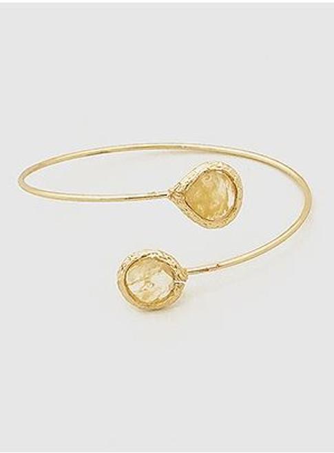 (Beige) Natural Stones Open Tip Cuff Bangle Bracelet