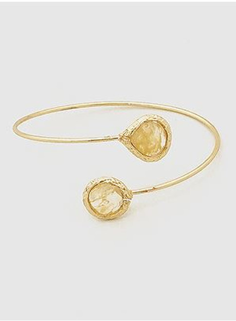 (Beige) Natural Stones Open Tip Cuff Bangle Bracelet