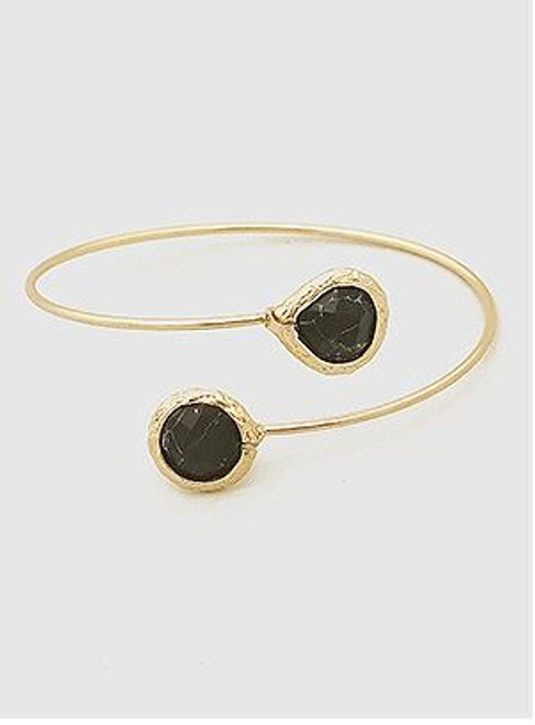 (Black) Natural Stones Open Tip Cuff Bangle Bracelet