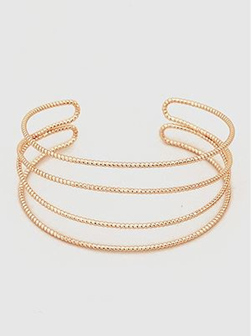 Multi Lines Open Cuff Metal Bangle Bracelets