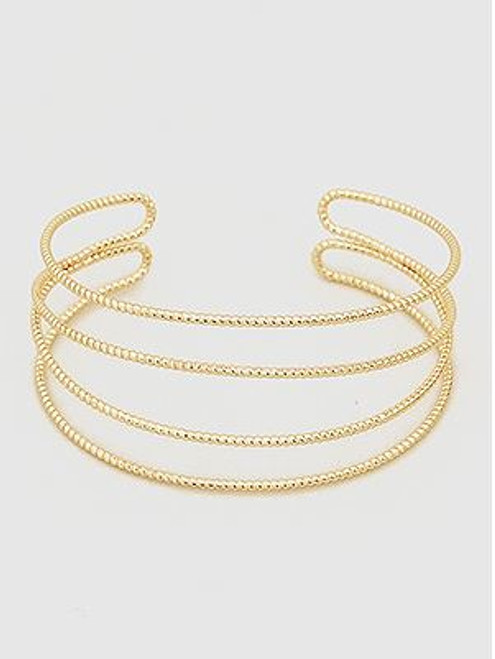 (Yellow Gold) Multi Lines Open Cuff Metal Bangle Bracelets