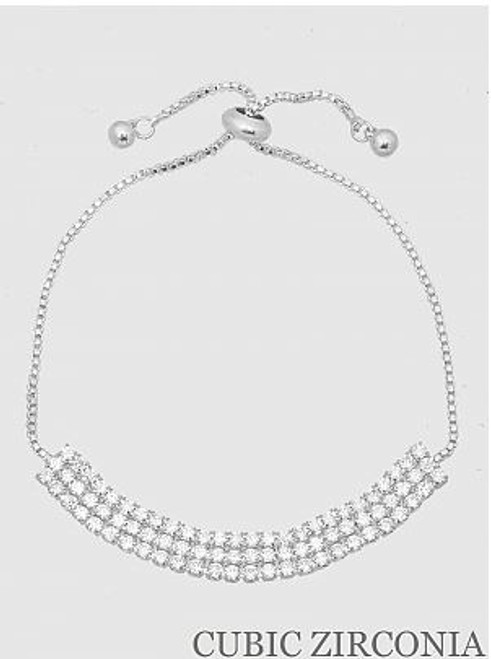 Three Row Cubic Zirconia Pull Tie Statement Bracelet