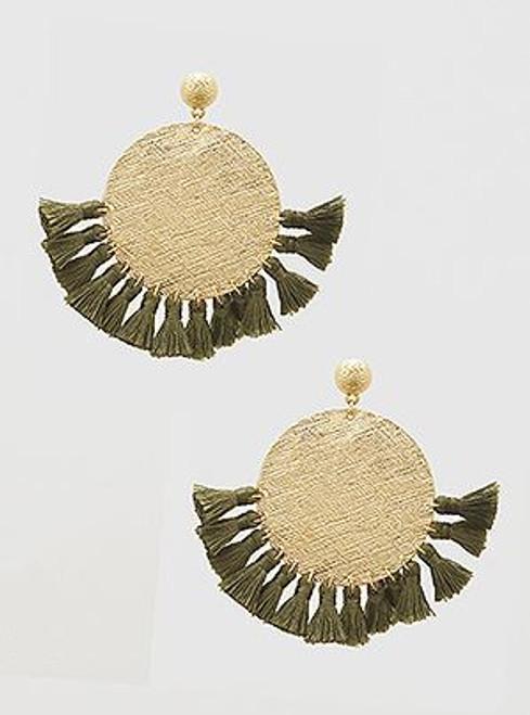 (Olive) Thread Tassels Scratch Textured Statement Earrings