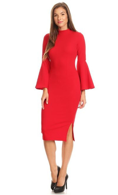 Red Bell Sleeve Fitted Dress