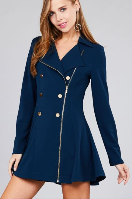 Double Breasted Zipper front Peacoat