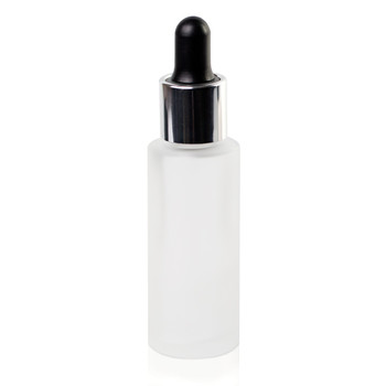 CIRCUS FROSTED GLASS BOTTLE 30ML DROPPER (BLACK ON SILVER)