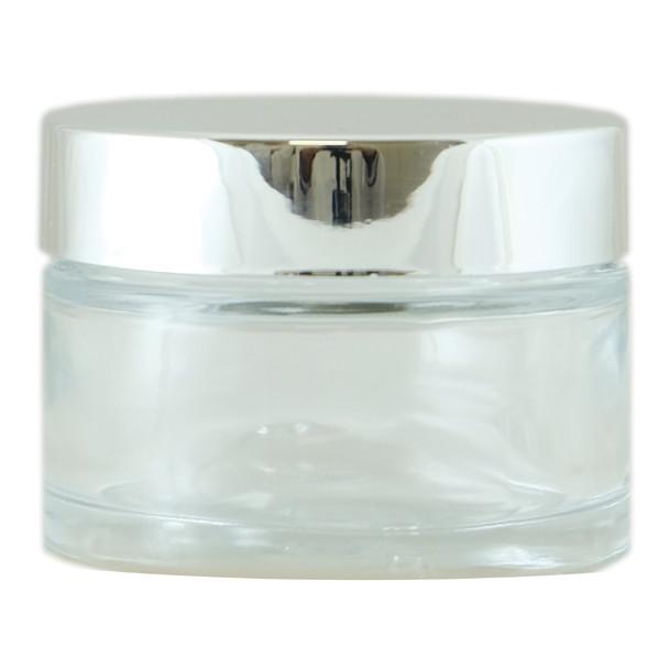 SLIM CLEAR GLASS JAR 50ML SILVER CAP