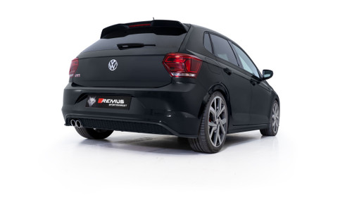 Remus Resonated GPF back System with 2 tail pipes @ 84 mm angled, rolled edge, chromed - Polo AW 2.0 TSI GTI 147 kW DKZ 2019-