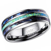 (8mm)  Unisex or Men's Tungsten Carbide Wedding ring bands. Silver Tone Multi Color Blue/Green Opal and Rainbow Abalone Shell Inlay Ring (Organic colors)