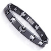 "8.5"" Inch Length - Mens Tungsten Bracelet - Black and Silver Tungsten Carbide and Ceramic Men's Link Bracelet (Black, Silver)"