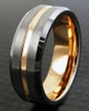 (7mm) Unisex, Men's or Women's Tungsten Carbide Wedding Ring Band. Gray Silver Top with Rose Gold Groove Center and Inside Band.