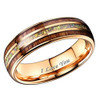 """(7mm) Unisex, Women's or Men's Tungsten Carbide Wedding ring band - Rose Gold Tone Wood and Rainbow Opal Inlay Ring. """"I Love you"""" text."""