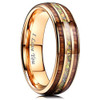 "(7mm) Unisex, Women's or Men's Tungsten Carbide Wedding ring band - Rose Gold Tone Wood and Rainbow Opal Inlay Ring. ""I Love you"" text."
