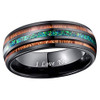 (8mm) Unisex or Men's Tungsten Carbide Wedding Ring Band - Black Tone Wood and Sea Green Opal Inlay Ring.  I Love You Text.