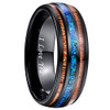 (8mm) Unisex or Men's Tungsten Carbide Wedding Ring Band - Black Tone Wood and Sea Blue Opal Inlay Ring.  I Love You Text.