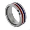 (8mm) Unisex or Men's Tungsten Carbide Wedding Ring Band. Silver Band with Blue and Red Line Stripes. High Polish Finish and Beveled Edges.