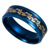 (8mm) Unisex or Men's Steel Wedding Ring Band. Blue Ring with Gold Dragon over Blue Carbon Fiber inlay.