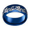 (8mm) Unisex or Men's Steel Wedding Ring Band. Domed Top Blue Ring with Laser Engraved Dragon.